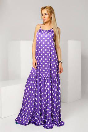 """Длинное летнее платье-сарафан в горошек """"Karina"""" с оборками (2 цвета), фото 2"""