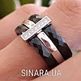 Серебряное кольцо с черной керамикой - Кольцо с керамикой серебро, фото 2