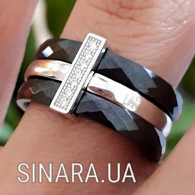 Срібне кільце з чорною керамікою - Кільце з керамікою срібло