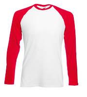 Мужская футболка с длинными рукавами Long sleeve baseball белая с красными рукавами
