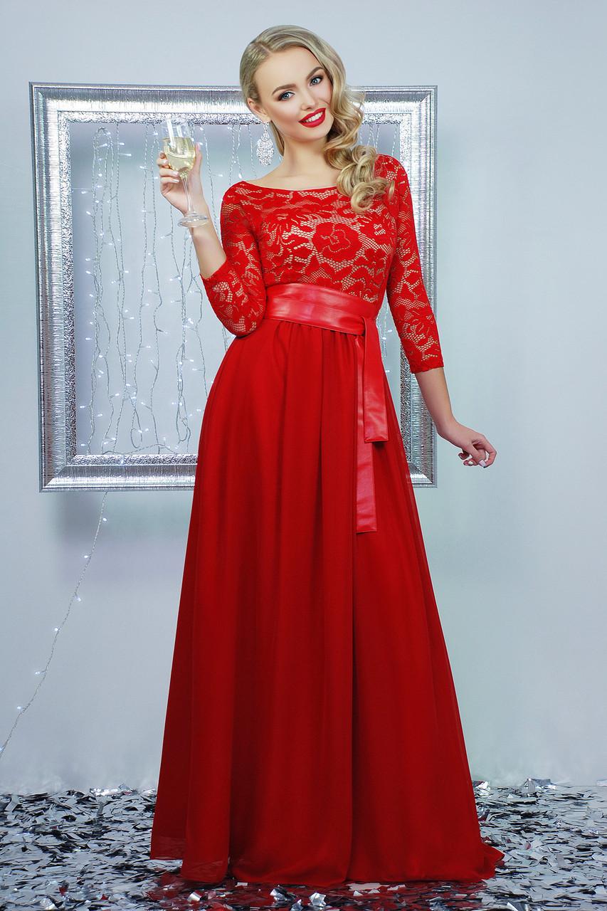 Вечернее красное платье в пол с шифона и гипюра