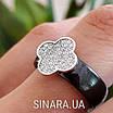 Серебряное кольцо с керамикой Клевер - Кольцо черная керамика серебро 925 Клевер, фото 2