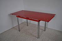 Стіл скляний обідній розкладний Maxi DT TR 1100/800 червоний  , фото 1