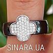 Серебряное кольцо с керамикой Клевер - Кольцо черная керамика серебро 925 Клевер, фото 4