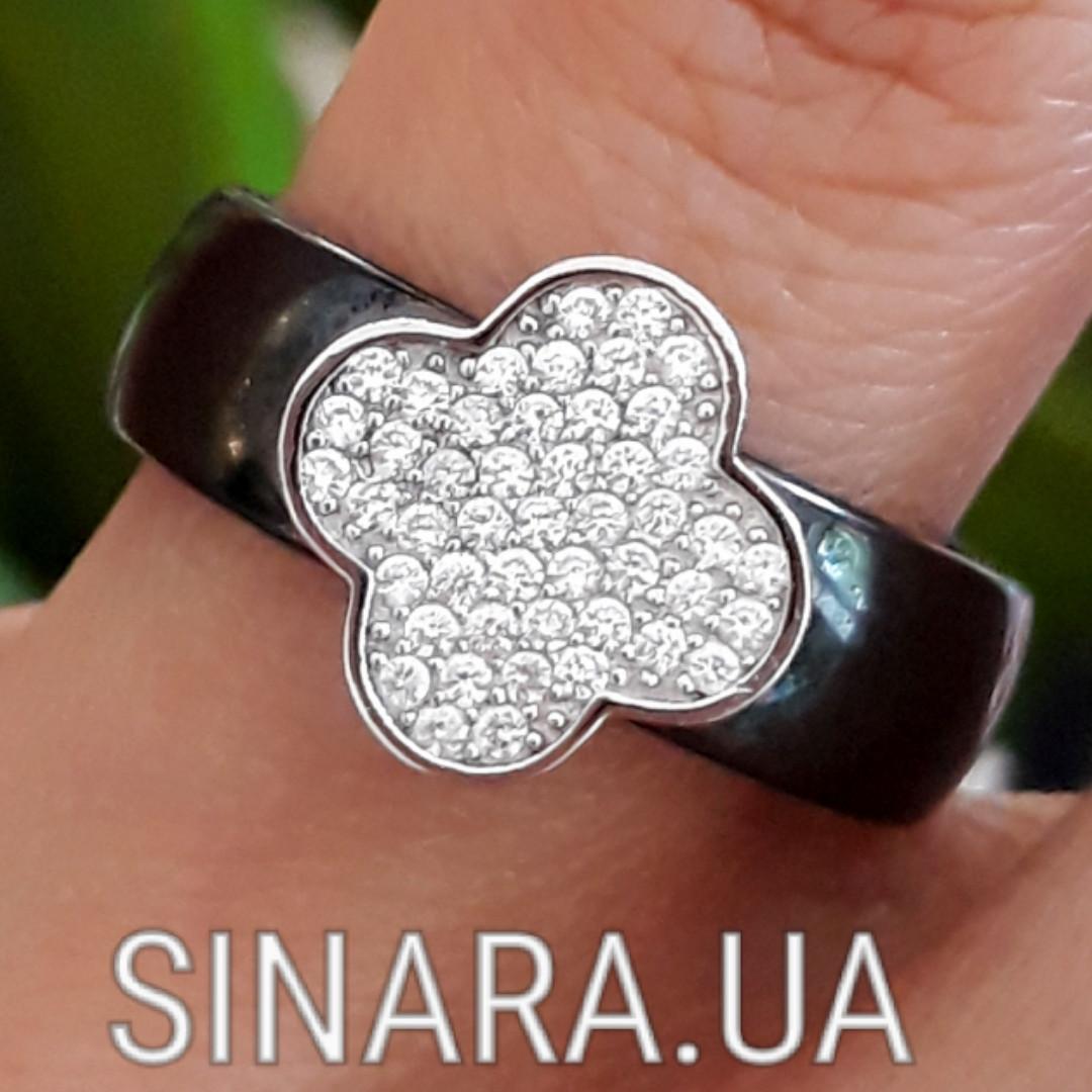 Серебряное кольцо с керамикой Клевер - Кольцо черная керамика серебро 925 Клевер