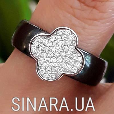 Срібне кільце з керамікою Конюшина - Кільце чорна кераміка срібло 925 Конюшина