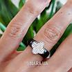 Серебряное кольцо с керамикой Клевер - Кольцо черная керамика серебро 925 Клевер, фото 3