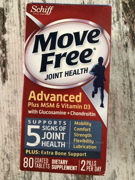 Глюкозамин, хондроитин, гиалуронка для суставов SCHIFF Move Free, 80шт