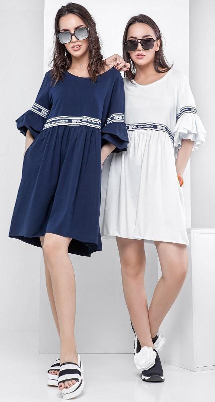 Летнее платье из хлопка с воланами на рукавах Рошель 42-48 р
