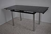 Стіл скляний обідній розкладний Maxi DT TR 1100/800 чорний , фото 1