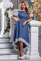 Красивое асимметричное платье из коттона с кружевом