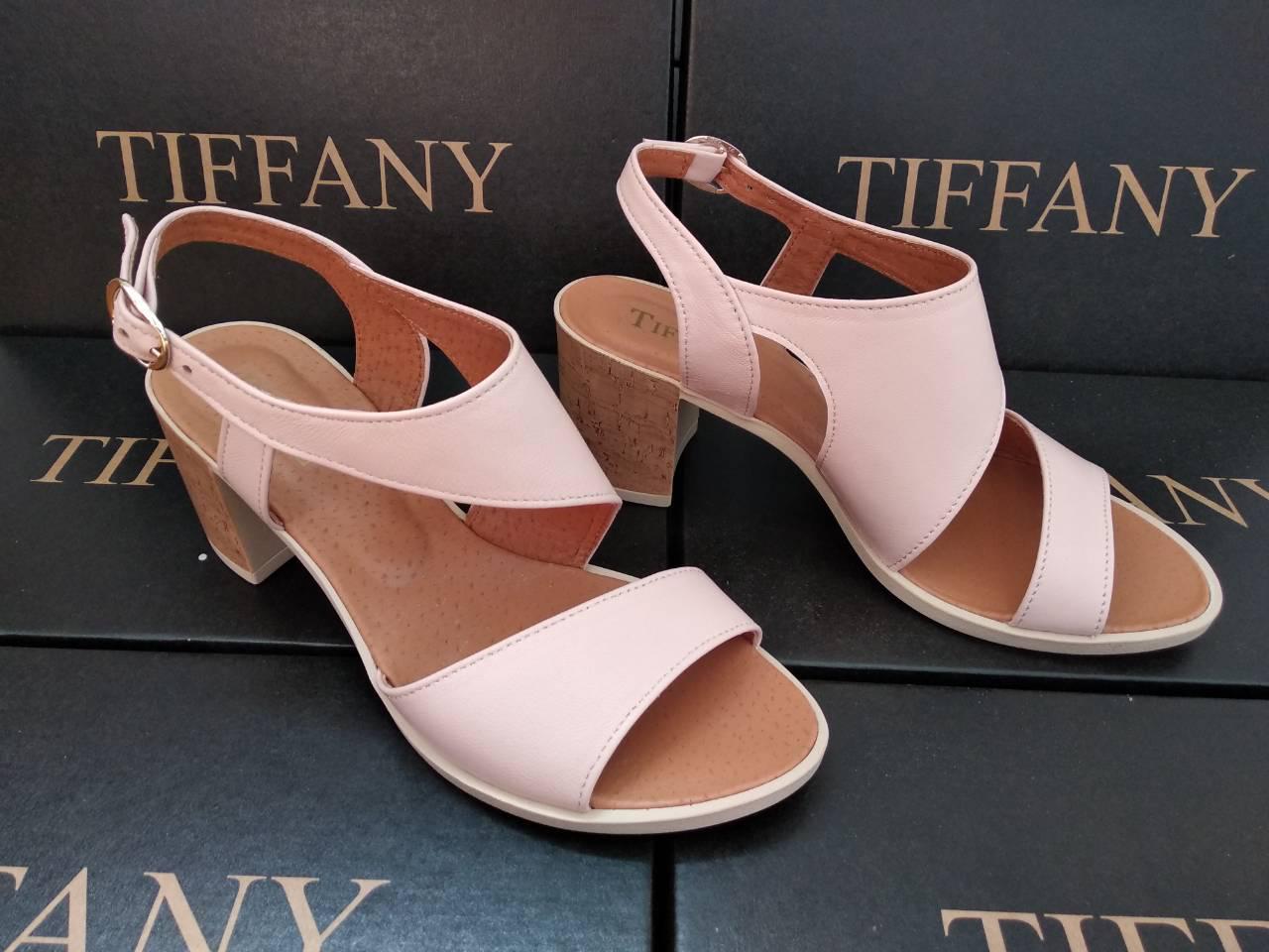 Женские кожаные босоножки TIFFANY на каблуке оптом