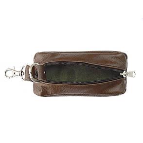 Ключница кожаная BagHouse с карабином 13х5х2 см, коричневая клк13кор, фото 2