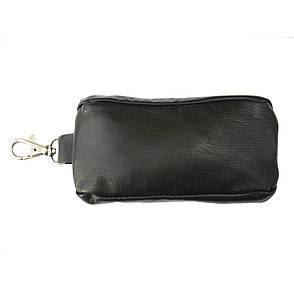 Ключница из натуральной кожи BagHouse с карабином 13х5х2 см чёрная клк13ч, фото 2