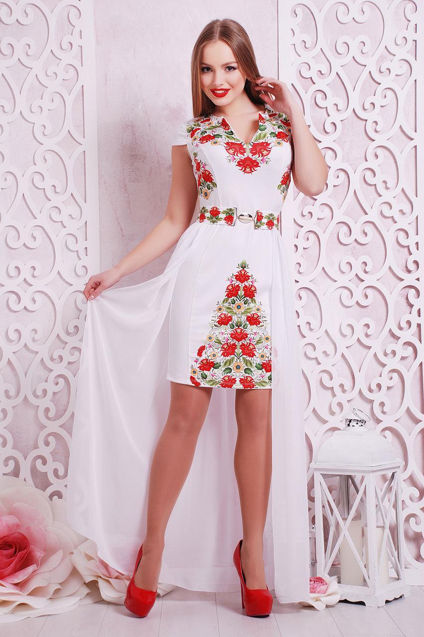 Белое платье в украинском стиле нарядное с красными цветами, со съемной шифоновой юбкой, S M L