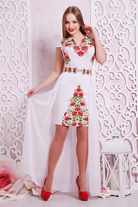 Белое платье в украинском стиле нарядное с красными цветами, со съемной шифоновой юбкой, S M L, фото 2