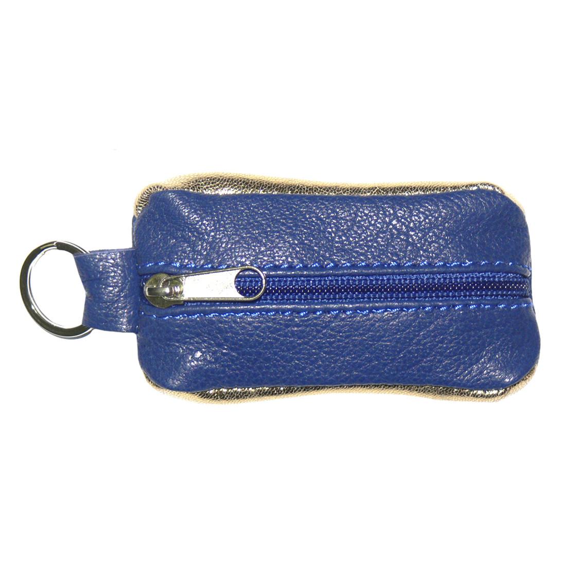 Ключница-футляр синяя BagHouse из натуральной кожи 7,5х4 см  фф7син