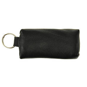 Ключница-футляр BagHouse из натуральной кожи чёрная 7,5х4 см  фф7ч, фото 2