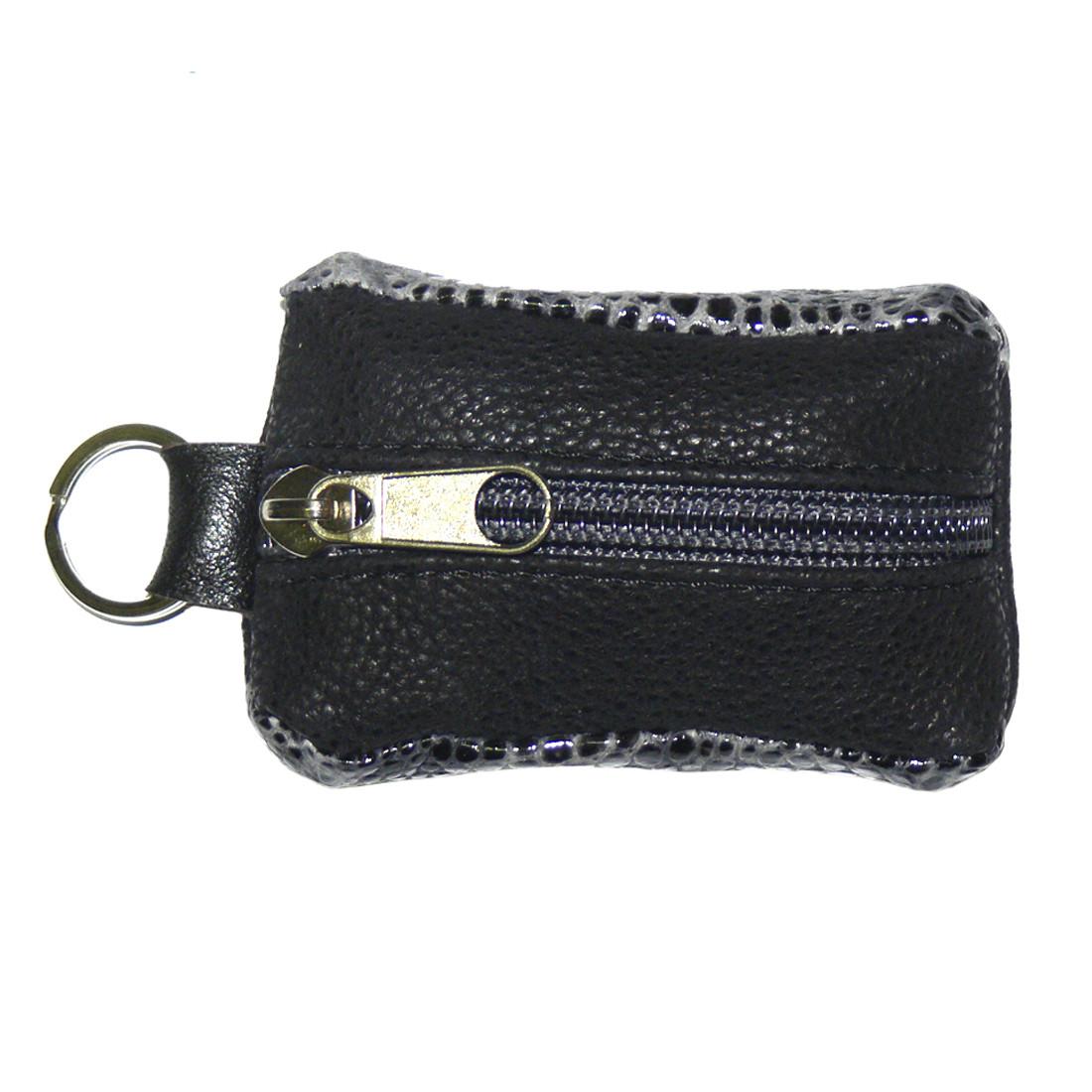 Ключница-футляр чёрно-серая BagHouse натуральная кожа 7,5х4 см  фф7ч сер