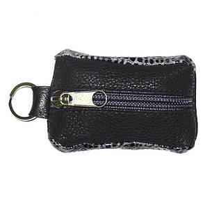 Ключница-футляр чёрно-серая BagHouse натуральная кожа 7,5х4 см  фф7ч сер, фото 2