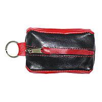 Ключница-футляр из натуральной кожи BagHouse чёрно-красная 7,5х4 см  фф7ч кр