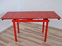 Стіл скляний обідній розкладний Maxi DT TR 900/600 червоний, фото 1