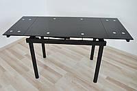 Стіл скляний обідній розкладний  Maxi DT TR В  900/600 чорний, фото 1