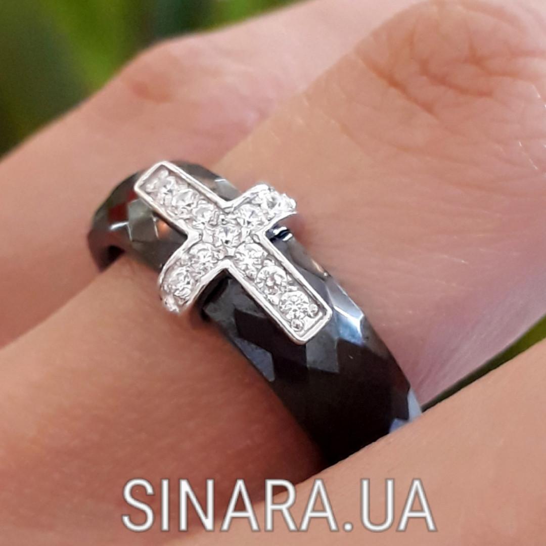 Серебряное Кольцо черная керамика - Кольцо с керамикой серебро
