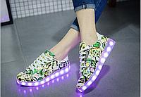 Подростковые светящиеся LED кроссовки мигающие с подсветкой 35-39 белые USB ЮСБ зарядка