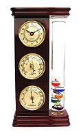 Барометр настольный с часами и термометром Галиллея