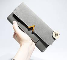 Серый Женский кошелек большой размер Valentino реплика, Серый