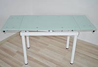 Стіл скляний обідній розкладний Maxi DT TR W  900/600 білий, фото 1