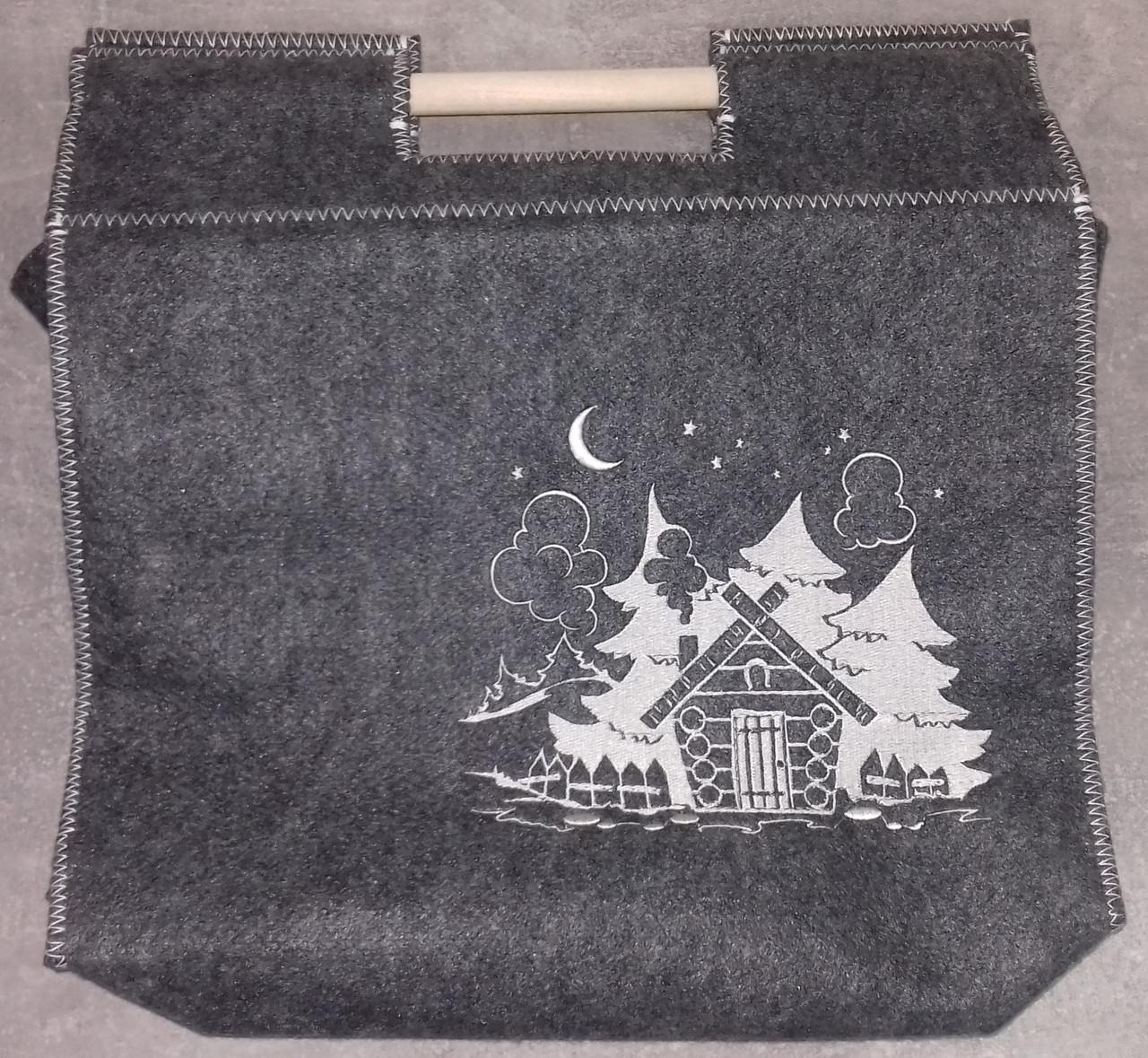"""Банная сумка """"Баня в лесу"""", с деревянными ручками"""