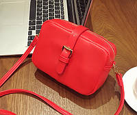 Женская маленькая сумочка на молнии из экокожи красная, фото 1