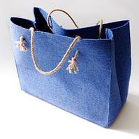 Подарочная упаковка-сумка из войлока голубая