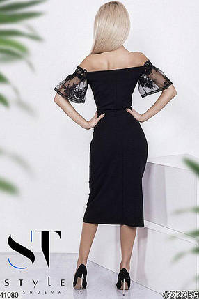 Нарядное платье средней длины облегающее короткий рукав с кружными вставками черное, фото 2