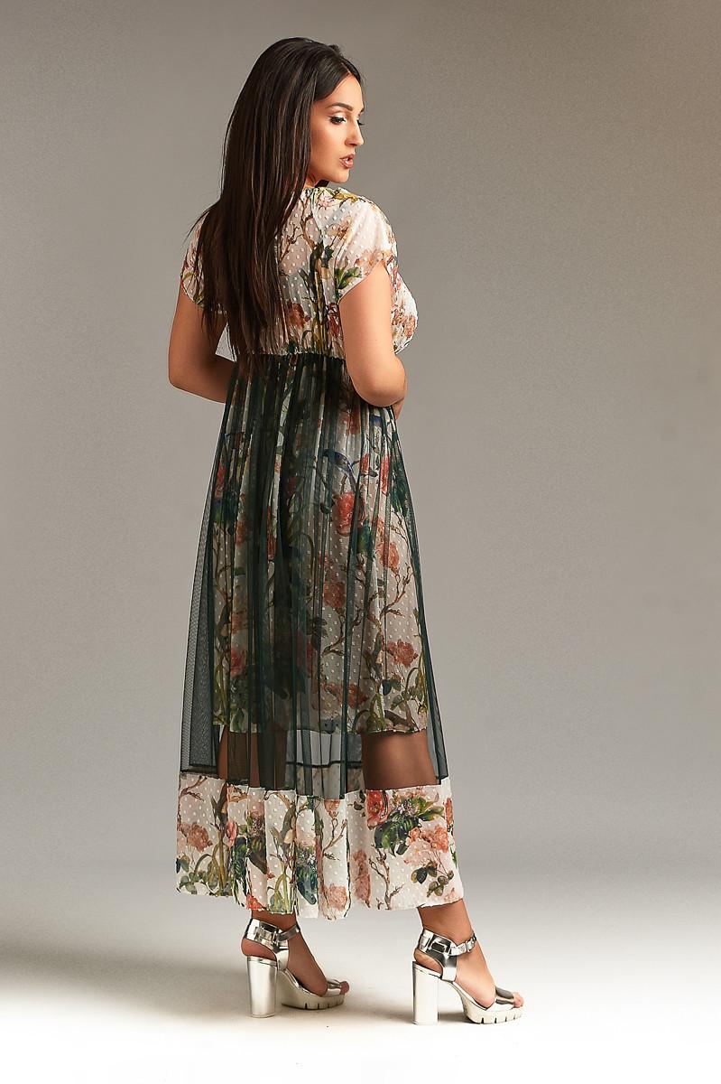 8beff4db2590530 Длинное шифоновое комбинированное женское платье. Размеры : 50-52,54-56, ...