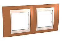 Рамка 2-местная Оранжевый/Слоновая кость Unica Top Schneider, MGU6.004.569