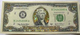Золотая банкнота счастливые 2 доллара