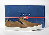 Шикарные кожаные слипоны Zeus, Оригинал, фото 1