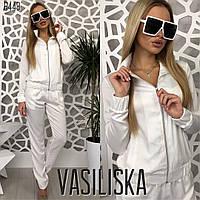Белый шелковый спортивный костюм , фото 1
