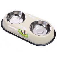 Двойная миска для котов и собак с резинкой, фото 1