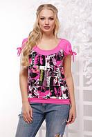 Женская розовая футболка большого размера БОГДАНА ТМ Lenida 50-56 размеры