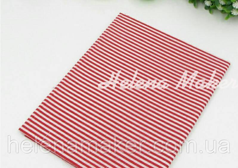 Отрез ситца для рукоделия красный в белую полосочку 50*50 см