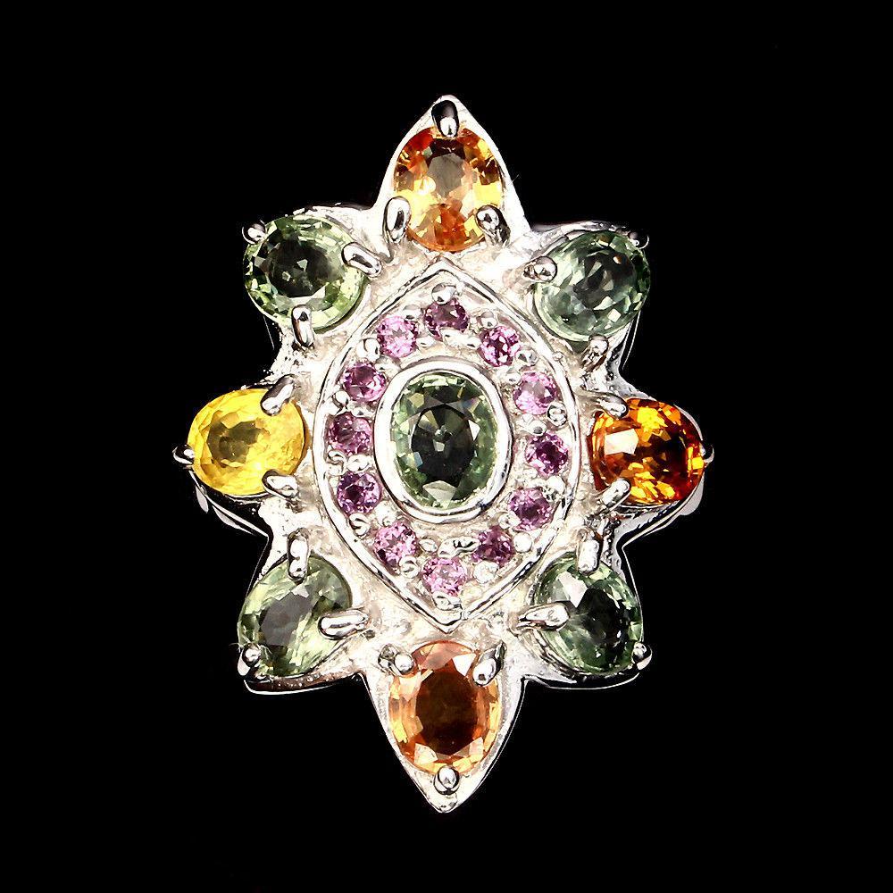 Крупное кольцо с цветными Сапфирами и Гранатами родолитами
