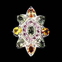 Крупное кольцо с цветными Сапфирами и Гранатами родолитами, фото 1