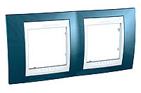 Рамка 2-местная Голубой лёд/Белый Unica Top Schneider, MGU6.004.854