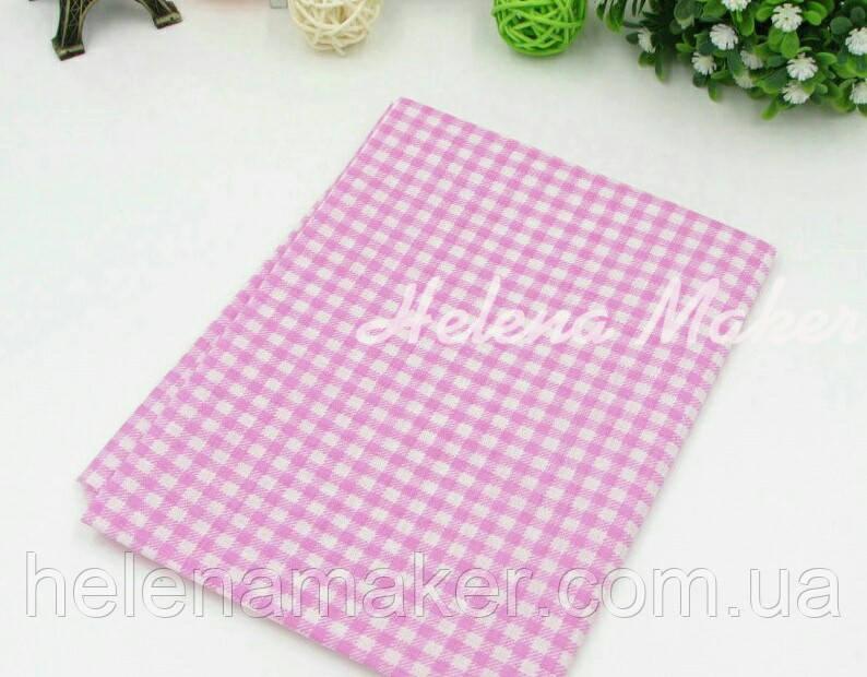 Отрез ситца для рукоделия розовый в белую клетку 50*50 см
