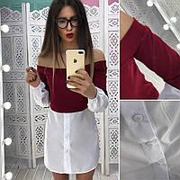 Женская туника-рубашка хлопок + трикотаж.Размер: С и М,разные цвета.