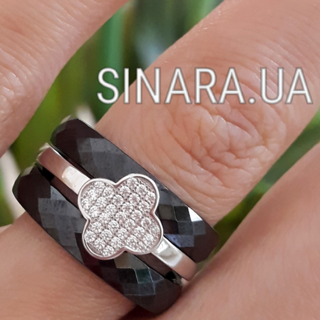 Кольцо с черной керамикой Клевер - Кольцо брендовое серебро с керамикой